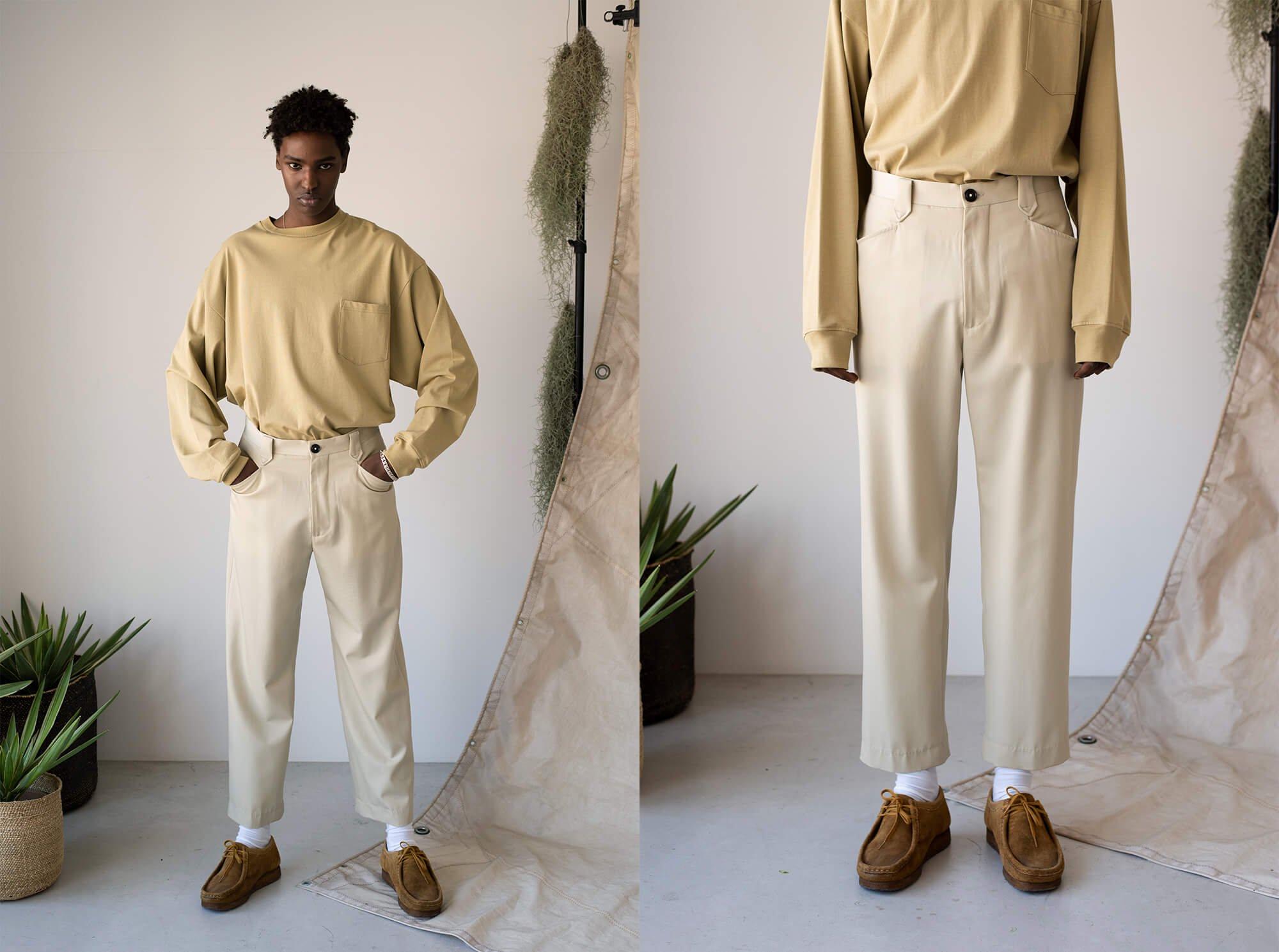 wool gabardine western trousers