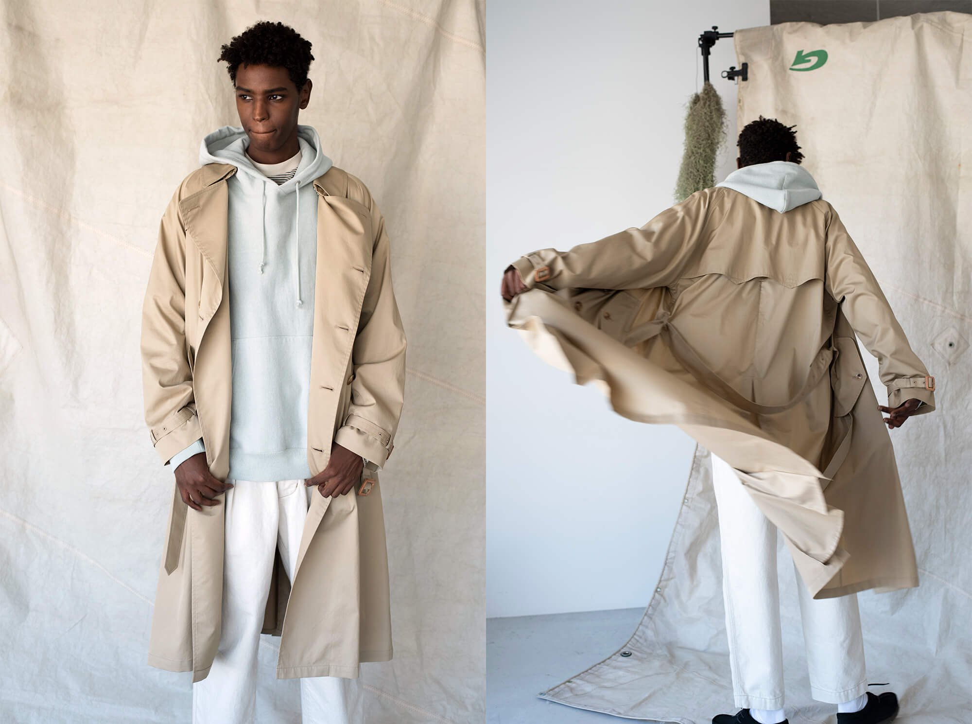 washed cotton-twill oversized trench coat