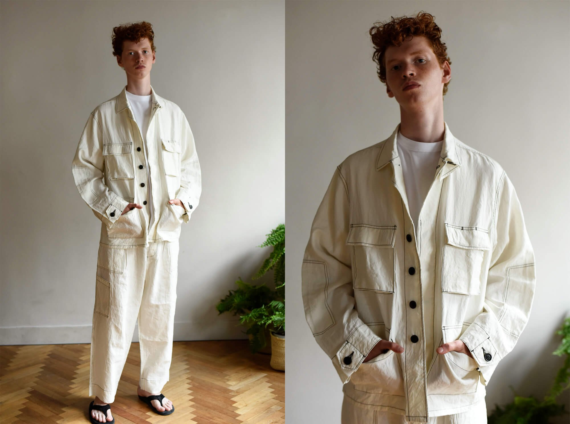paper & linen-cloth field jacket
