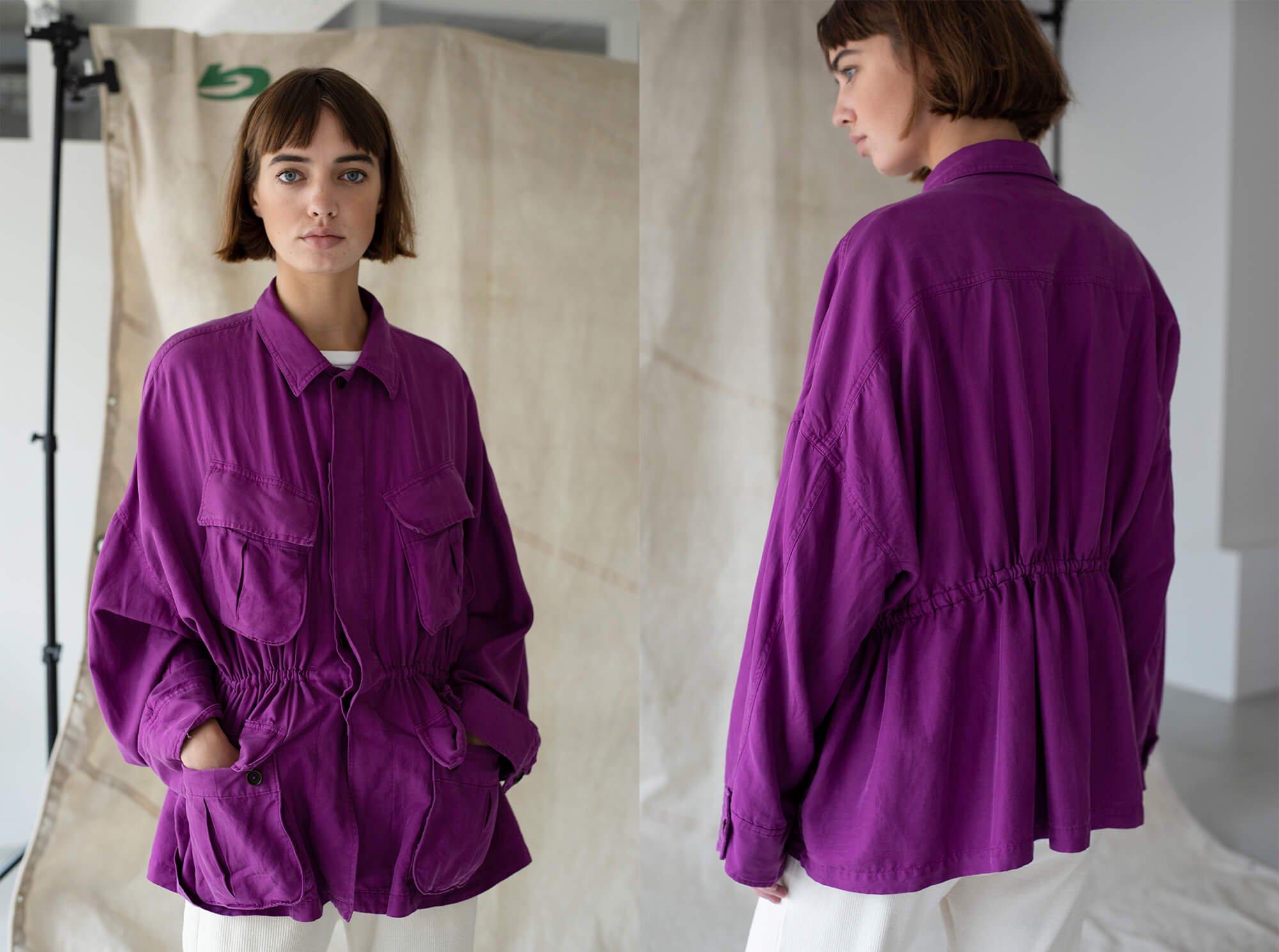 silk & cotton-twill military jacket
