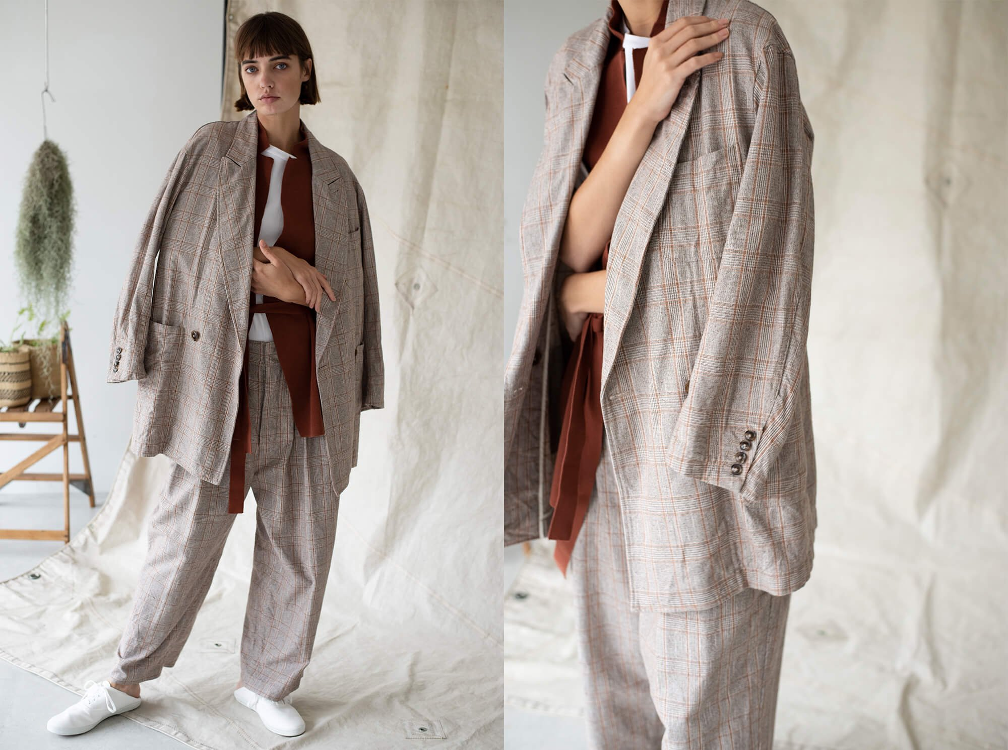 glen checked-tweed oversized jacket