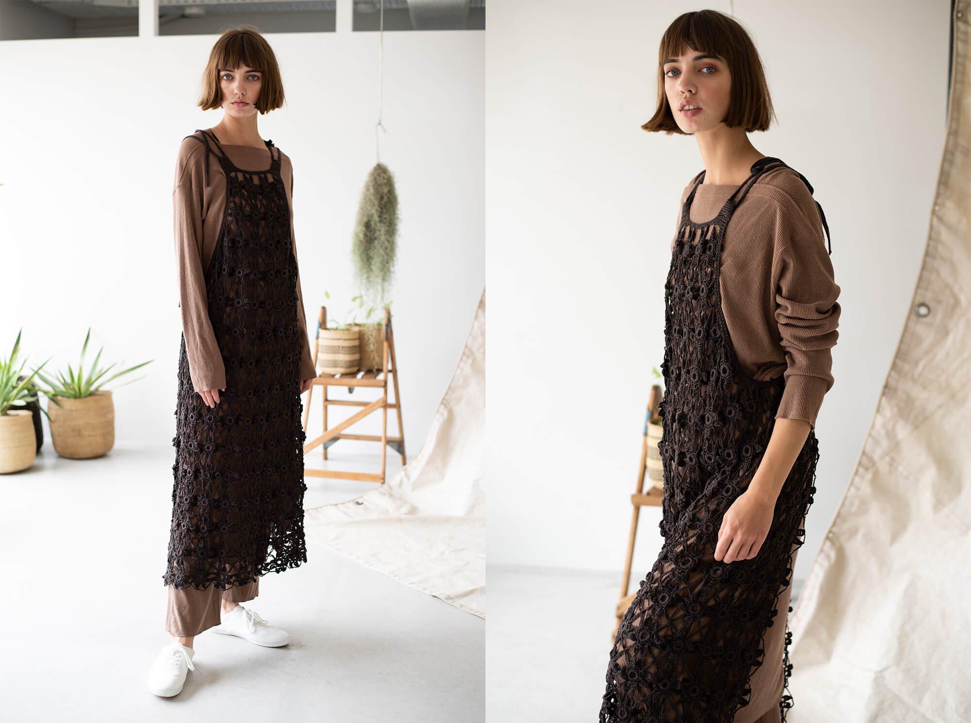 hand-crochet gima cotton apron dress