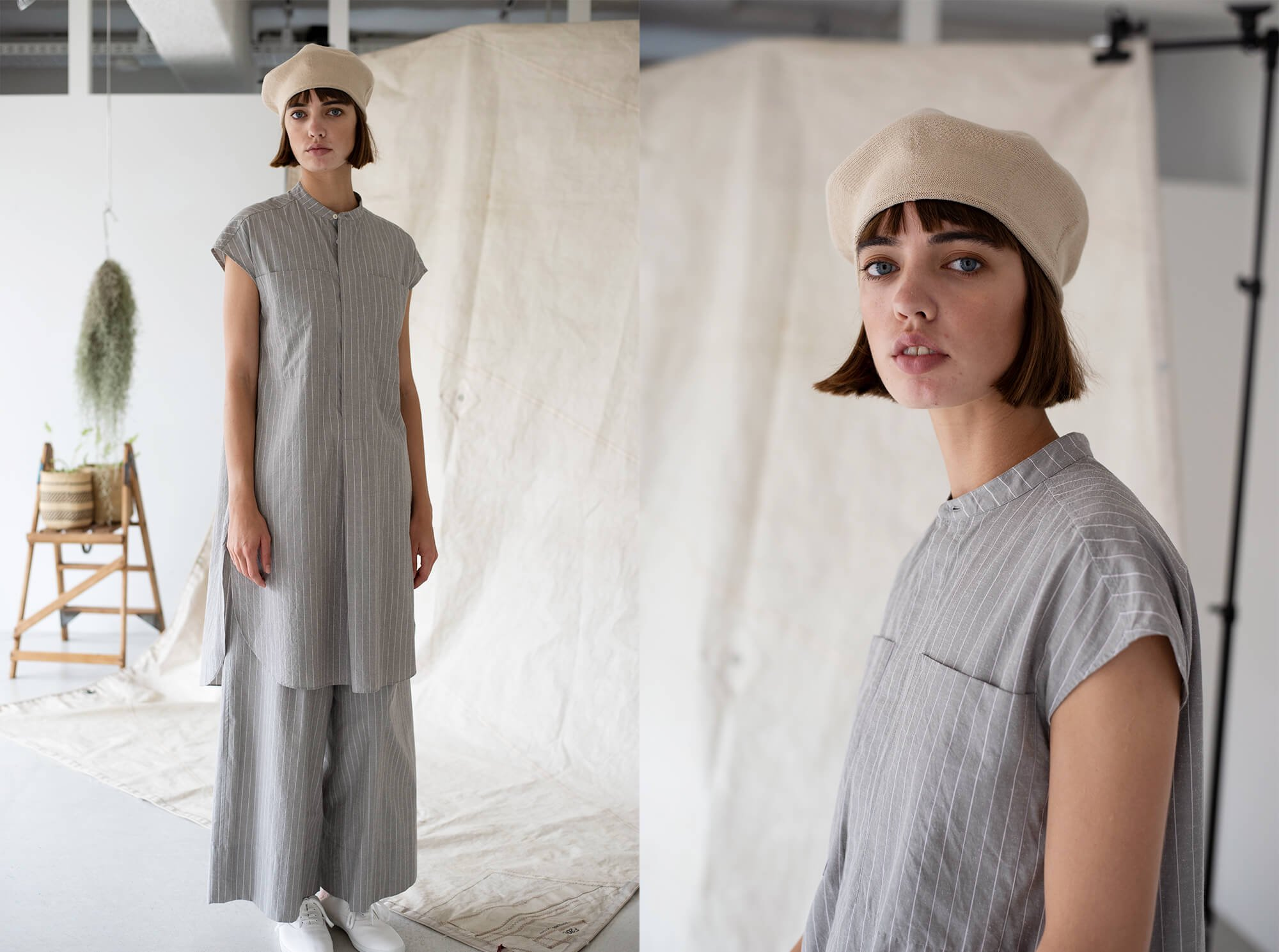 striped cotton & silk-poplin sleeveless long shirt
