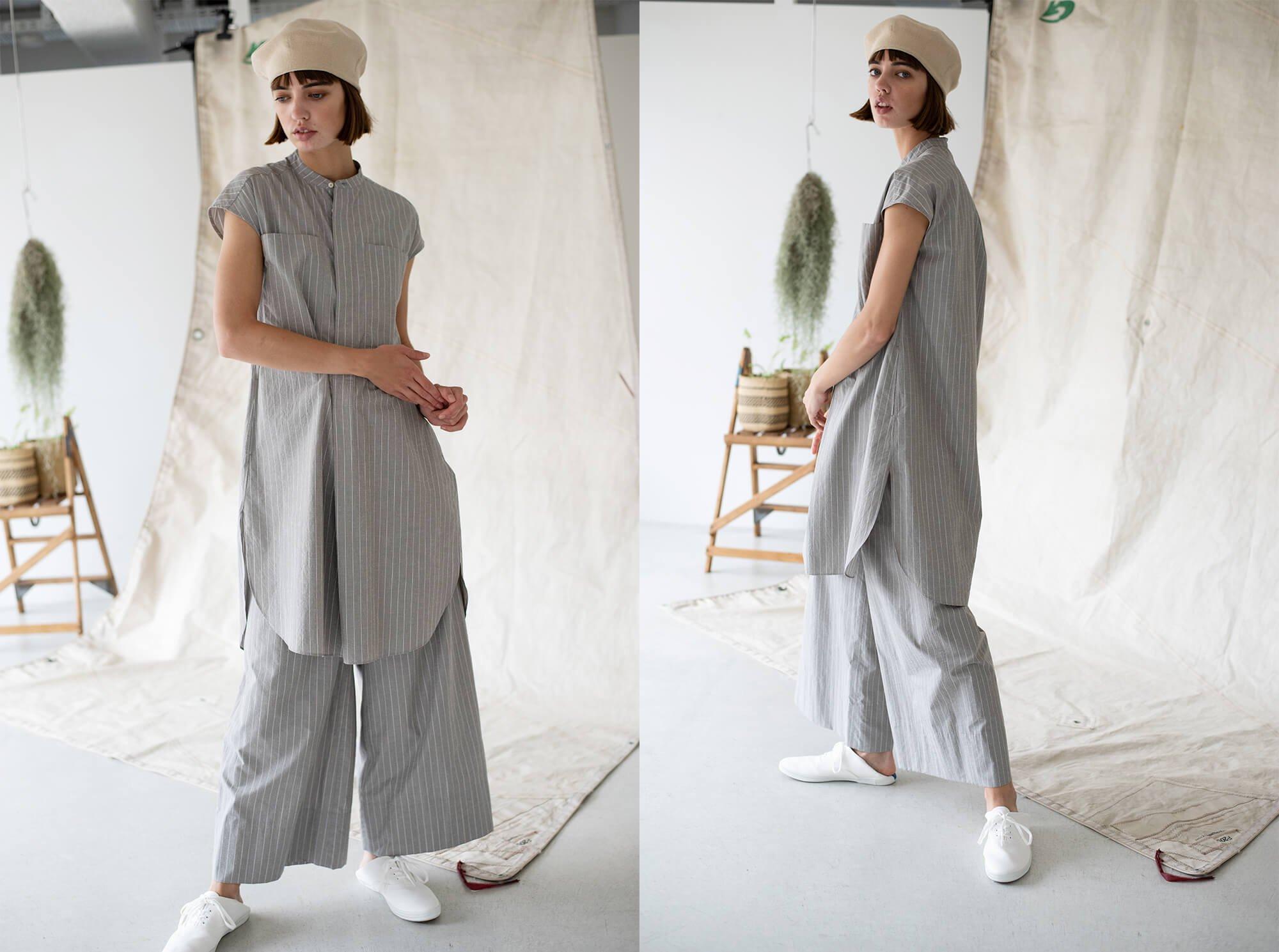 striped cotton & silk-poplin wide leg trousers