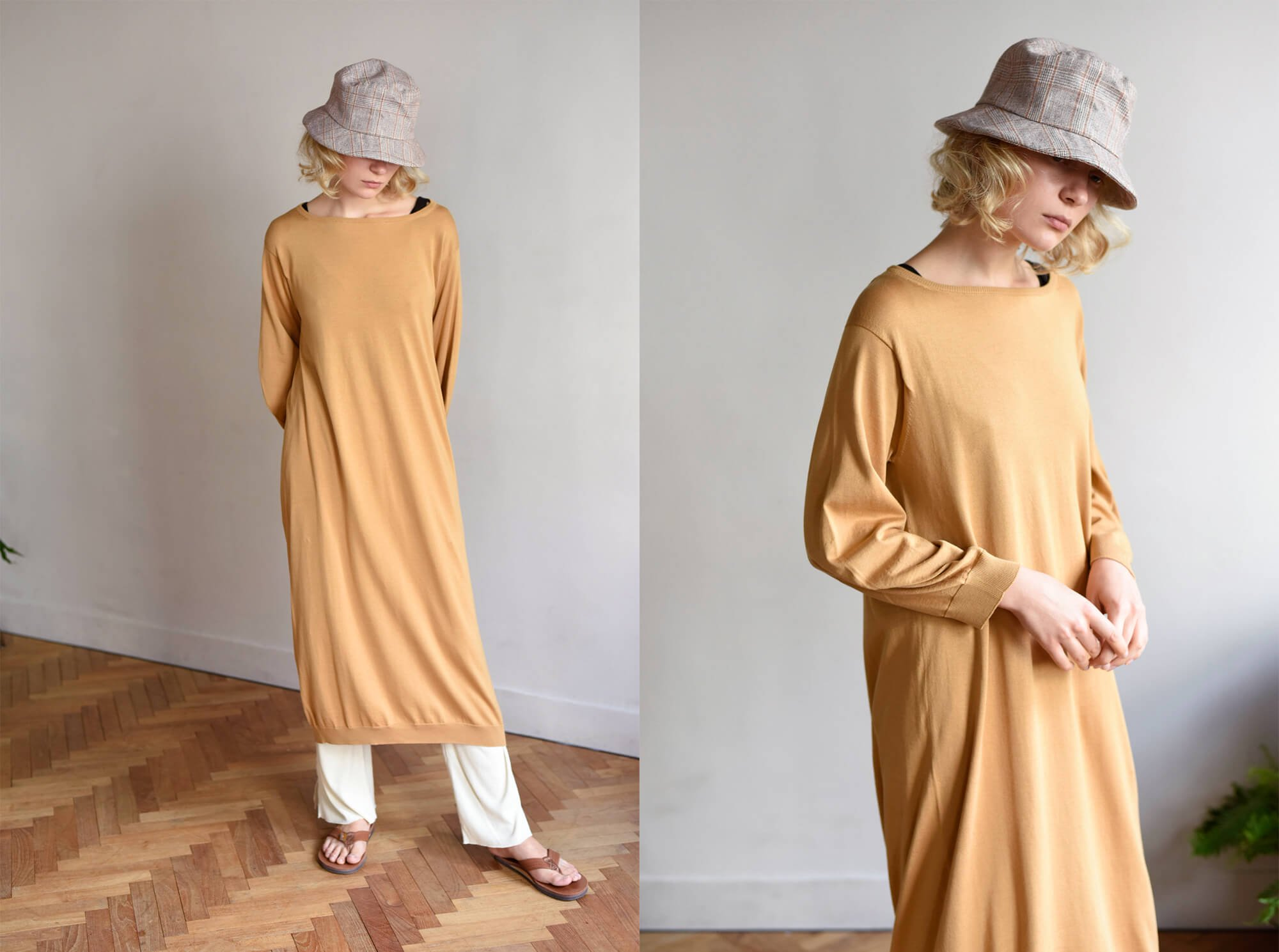 egyptian cotton fine gauge-knit dress
