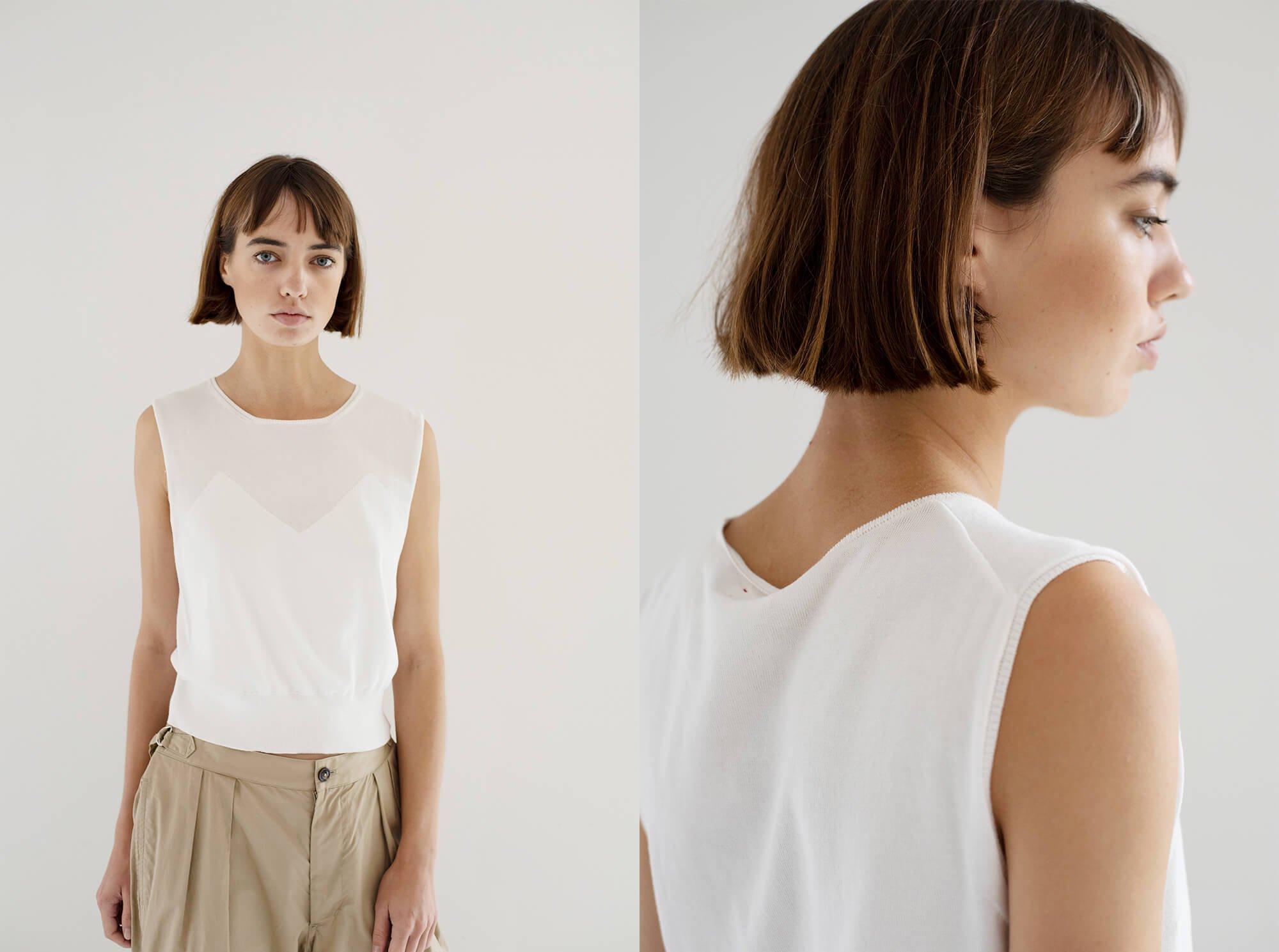 egyptian cotton fine gauge-knit  sleeveless top