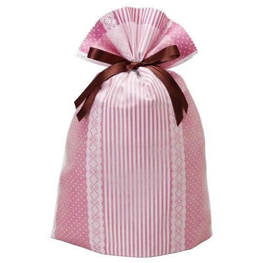 【巾着袋】巾着BAGピンクギフト L