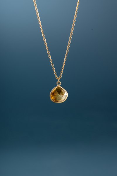 NR48 / Slice  Diamond Necklace(Honey Gold)