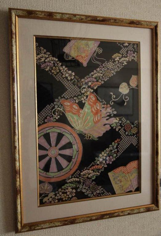 大正時代友禅織見本 額 / Framed Old Sample of Kimono Fabric