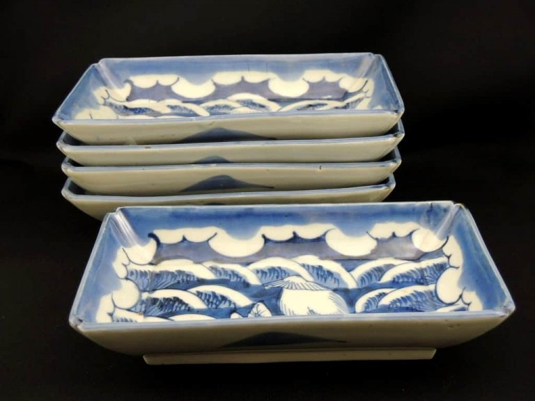 伊万里染付筍堀の図長皿 五枚組 / Imari Polychrome Rectangular Plate set of 5