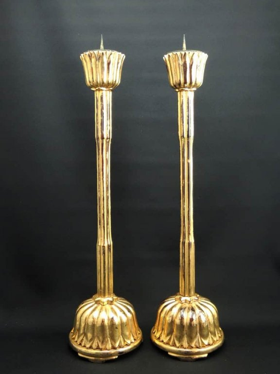 / Gold-Lacquered Candle Sticks   set of 2