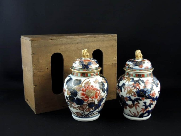 伊万里色絵茶入 一対 / Imari Polychrome Small Tea Pot  1 pair