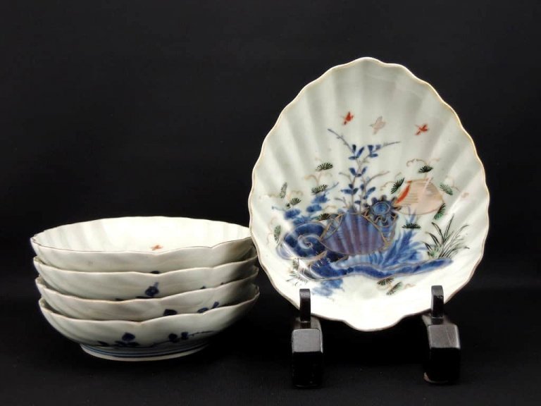 伊万里色絵貝形皿 五枚組 / Imari Polychrome Shell-shaped Plates set of 5