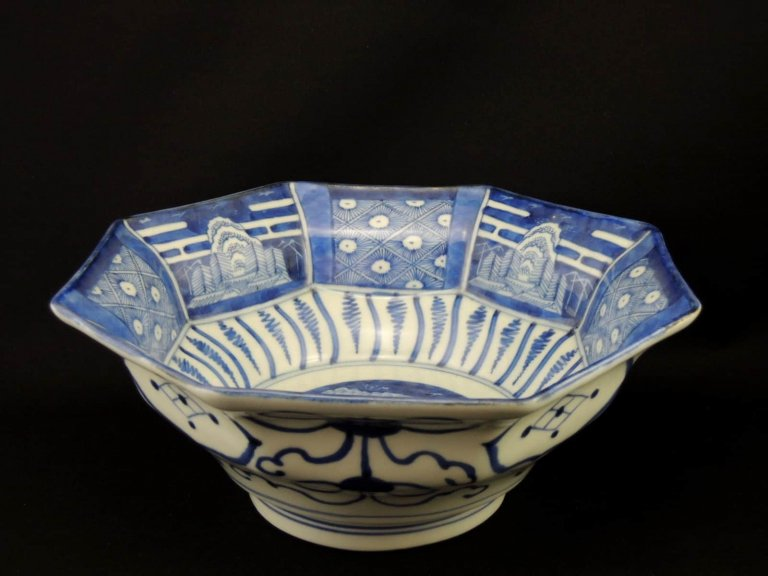 伊万里八角大鉢 / Imari Blue & White Large Octagonal Bowl