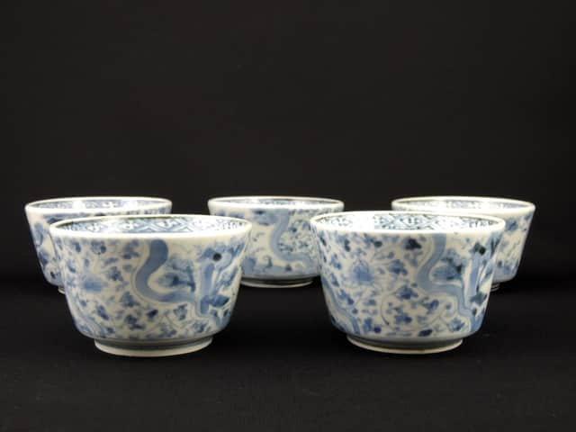 伊万里染付花唐草文向付 五客組 / Imari Blue & White 'Mukoduke' Cups  set of 5