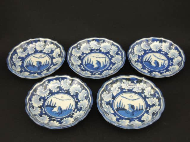 伊万里染付小皿 五枚組 / Imari Small Blue & White Plates  set of 5