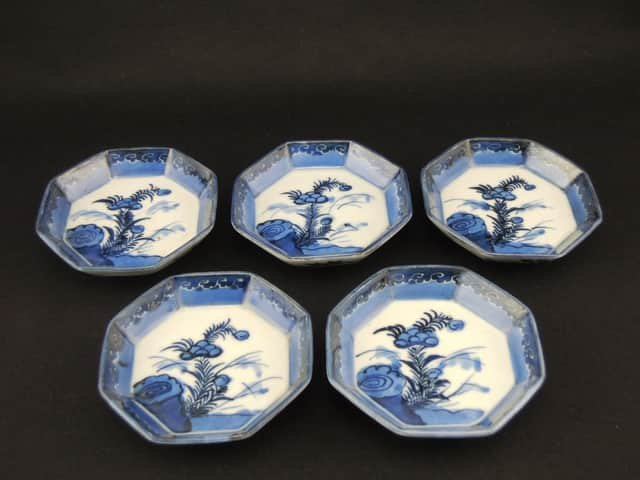 伊万里染付八角小皿 五枚組 / Imari Small Octagonal Blue & White Plates  set of 5