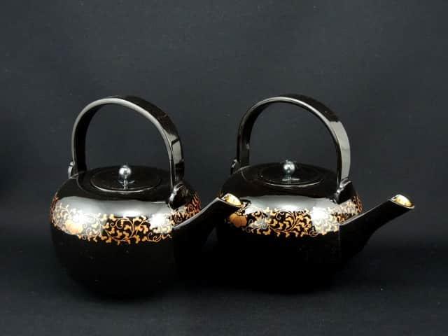 黒塗蒔絵銚子 一対 / Black-lacquered 'Sake' Pourer with 'Makie' picture  set of 5