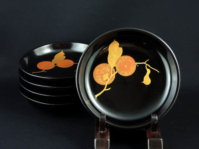 黒塗柿文小皿 五枚組 / Black-lacquered Plates with the picture of Persimon  set of 5