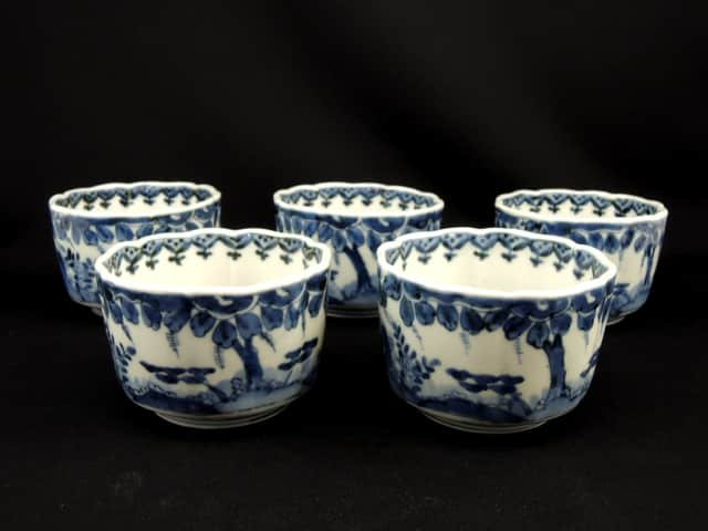 伊万里染付大向付 五客組 / Imari Blue & White Large Mukoduke Cups  set of 5