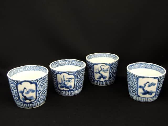 伊万里染付蛸唐草松竹梅窓絵文蕎麦猪口 四客組 / Imari Blue & White Soba Cups  set of 4