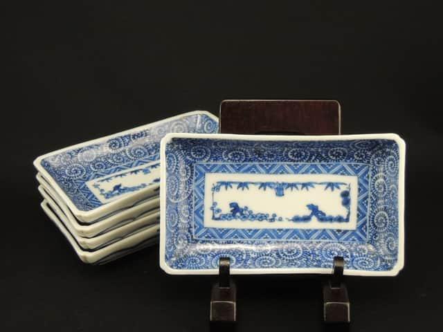 伊万里染付蛸唐草文小長皿 五枚組 / Imari Blue & White Small Rectangular Plates  set of 5