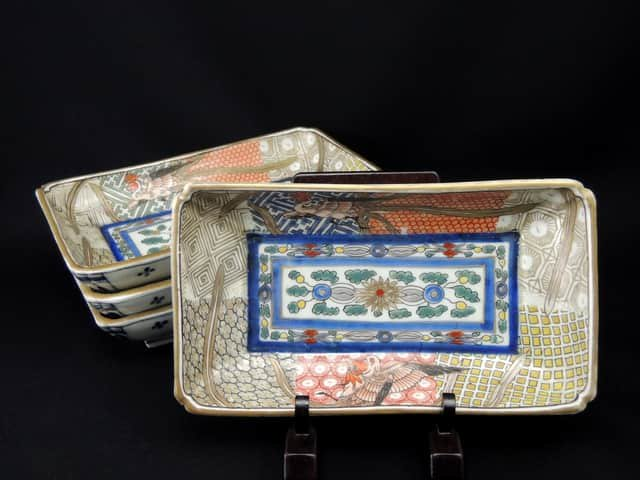 伊万里色絵鳳凰文長皿 四枚組 / Imari Polychrome Rectangular Plates with the picture of Pheonixes  set of 4