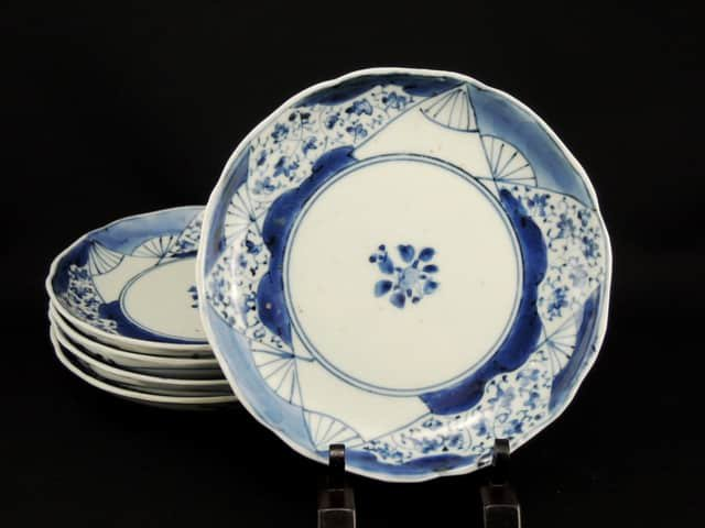 伊万里染付扇面唐草文六寸皿 五枚組 / Imari Blue & White Plates with the picture of Fans  set of 5