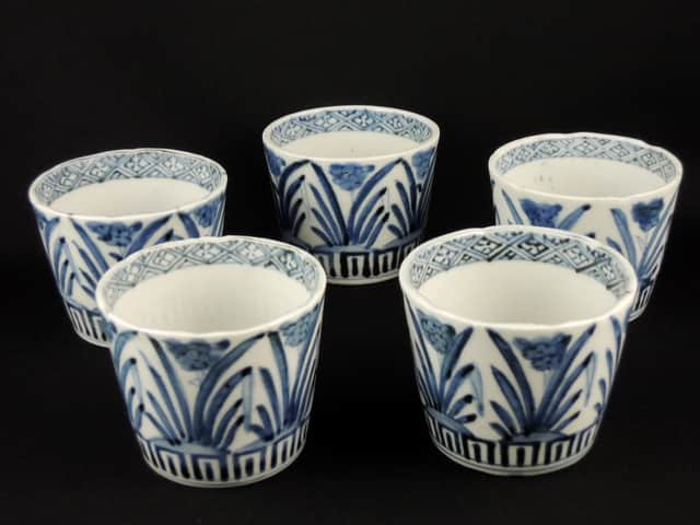 伊万里染付水仙文蕎麦猪口 五客組 / Imari Blue & White Soba Cups with the picture of Narcissuses  set of 4