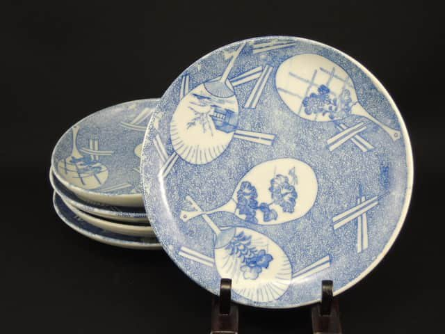 伊万里印判染付団扇文五寸皿 五枚組 / Imari 'Inban' Blue & White Plates with the picture of 'Uchiwa' fans  set of 5