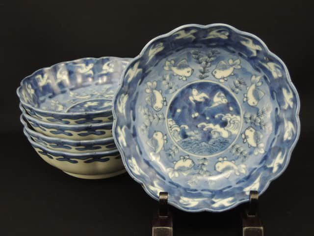 伊万里染付波千鳥金魚文なます皿 五枚組 / Imari Blue & White 'Namasu' Bowls  set of 5