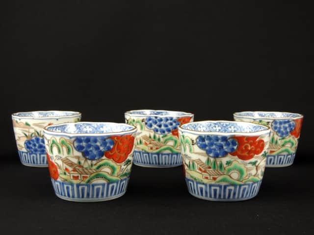 伊万里色絵蕎麦猪口 五客組 / Imari Polychrome Soba Cups  set of 5