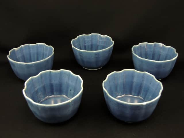 伊万里瑠璃釉向付 五客組 / Imari Lapis Lazuri 'Mukoduke' Cups  set of 5