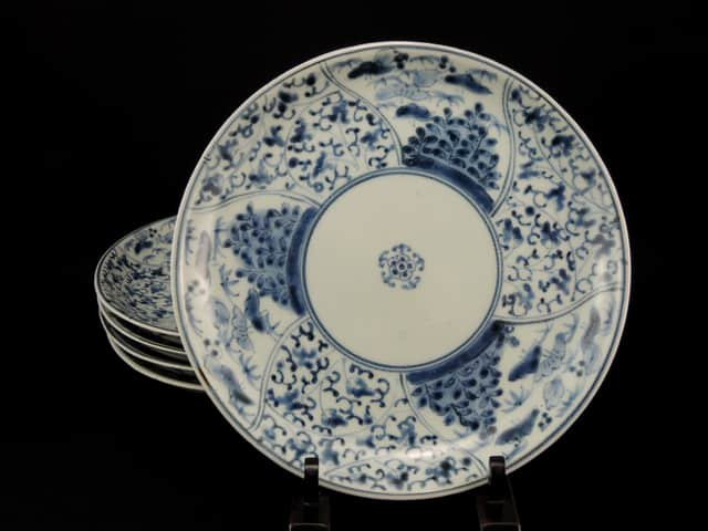 伊万里染付花唐草文七寸皿 五枚組 / Imari Blue & White Plates with the pattern of 'Hanakarakusa'(20.8cm)   set of 5