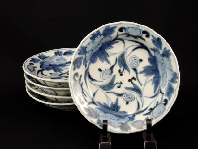 伊万里染付牡丹文五寸皿 五枚組 / Imari Blue & White Plates with the picture of Peonies(15cm)  set o f 5