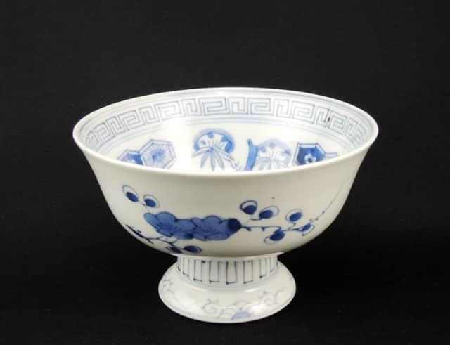伊万里染付亀甲文盃洗 / Imari Blue & White 'Haisen' Sake Cup Washing Bowl with Hexagonal pattern