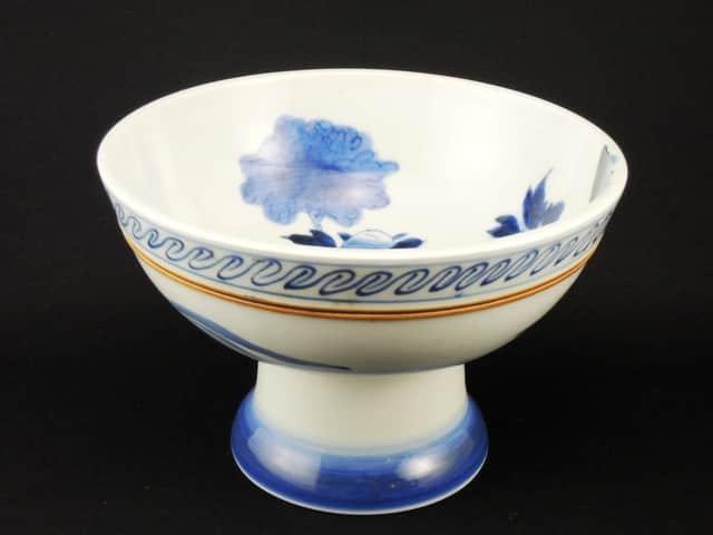 伊万里染付唐獅子牡丹文盃洗 / Imari Blue & White 'Haisen' Sake Cup Washing Bowl with the picture of Loin
