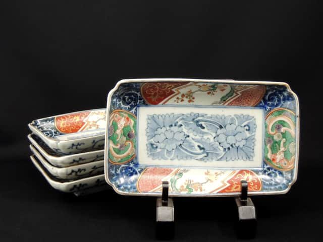 伊万里色絵長皿 五枚組 / Imari Rectangular Polychrome Plates  set of 5