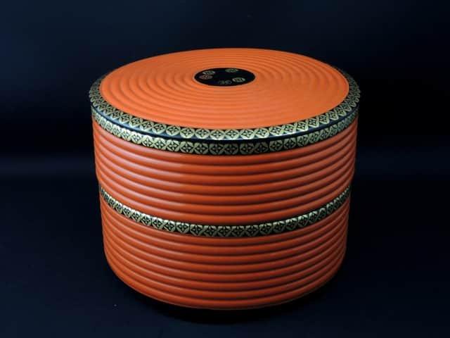七宝模様朱塗丸形菓子重 / Round Red-lacuquered 'Jubako'  Sweet Boxes