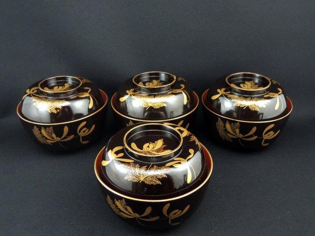 黒塗江戸蒔絵吸物椀 四客組 / Black-lacquered Soup Bowls set of 4