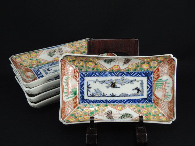 伊万里色絵花蝶文長皿 五枚組 / Imari Polychrome Rectangular Plates  set of 5