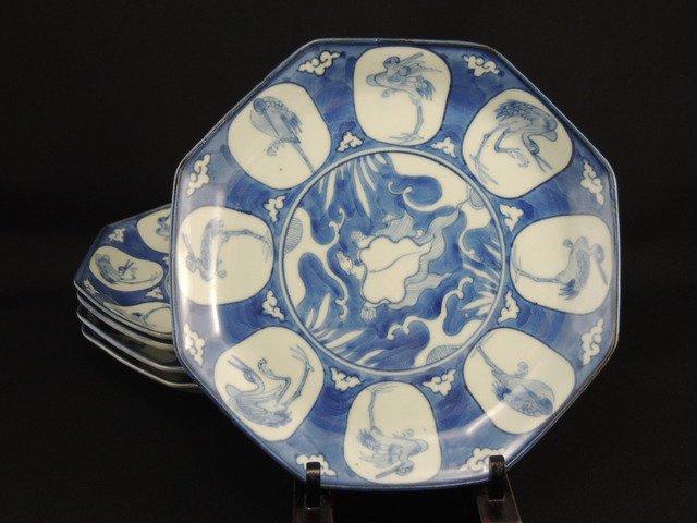 伊万里染付八角鶴亀文七寸皿 五枚組 / Imari Octagonal Blue & White Plates  set of 5