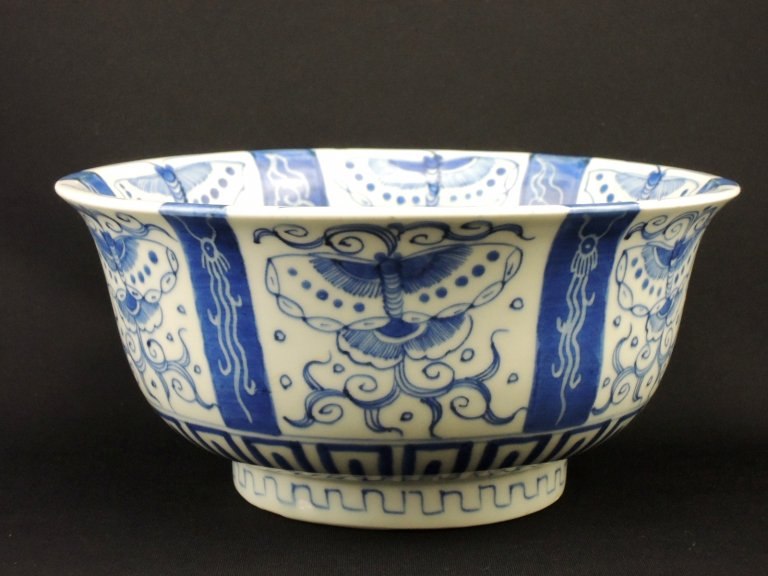 伊万里染付蝶文大鉢 / Imari Large Blue & White Bowl with the picture of Butterflies
