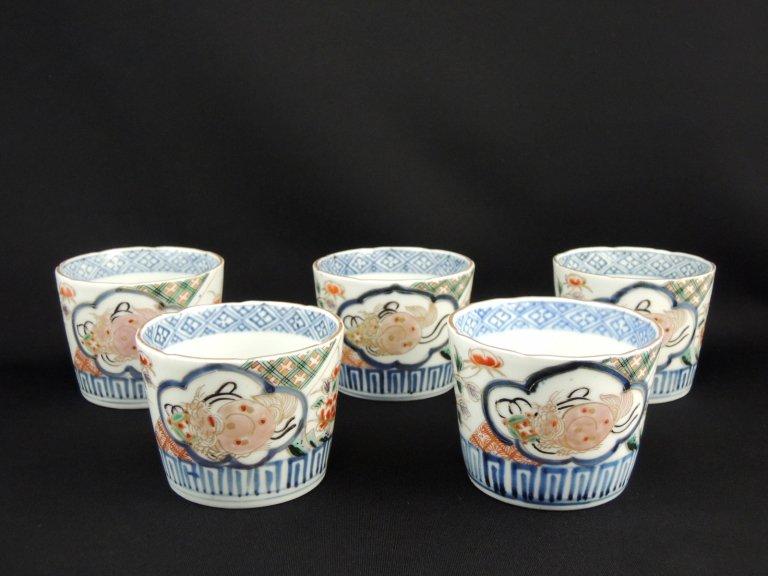 伊万里色絵獅子文蕎麦猪口 五客組 / Imari Polychrome Soba Cups  set of 5