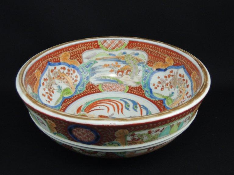 伊万里色絵鳳凰梅鶯窓絵文大鉢 / Imari Large Polychrome Bowl with the picture of Phoenixes