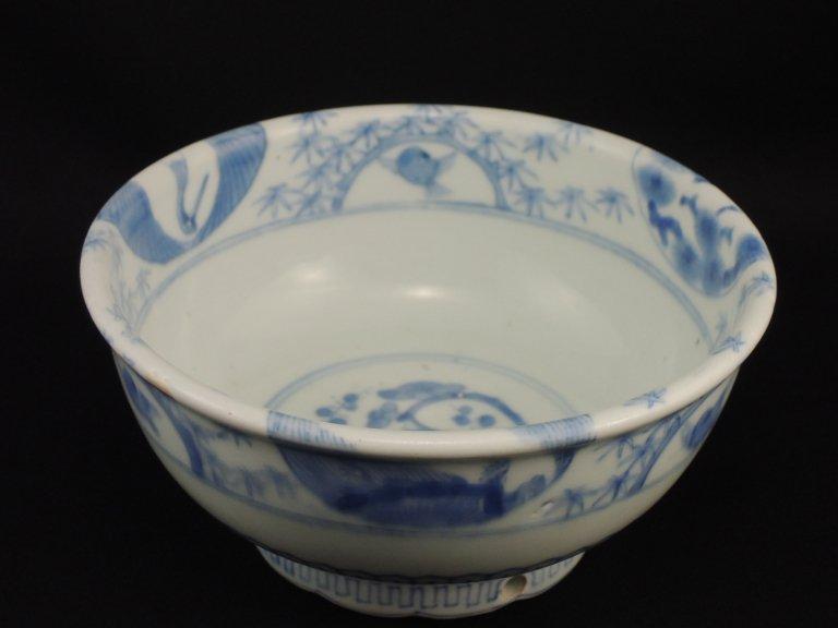 伊万里染付鶴竹雀文中鉢 / Imari Blue & White Bowl