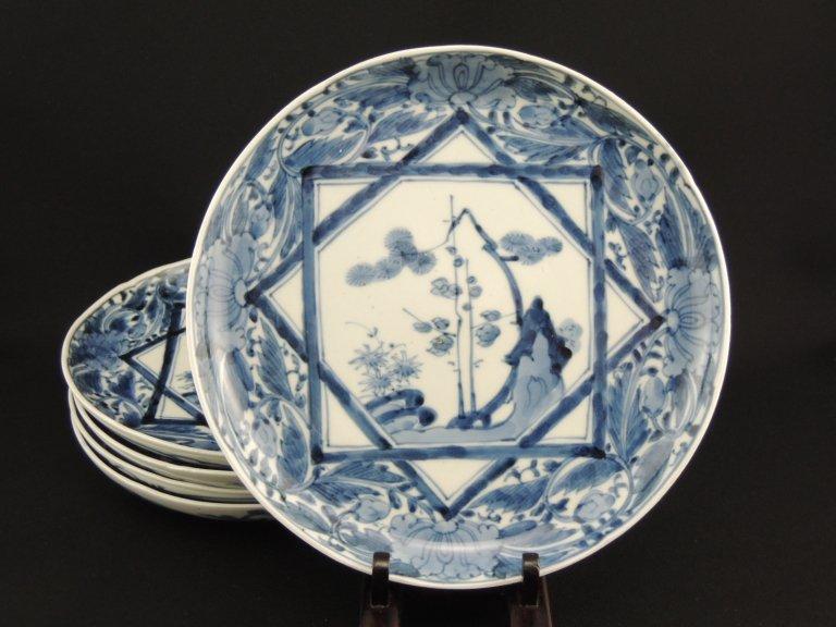 伊万里染付七寸皿 五枚組 / Imari Blue & White Plates  set of 5