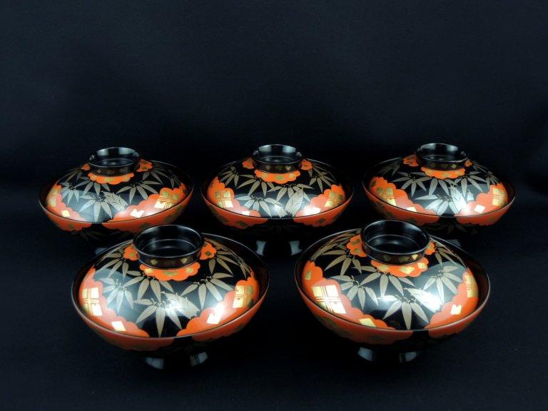 黒塗笹蒔絵蒔絵椀 五客組 / Black-lacquered Soup Bowls with Lids  set of 5