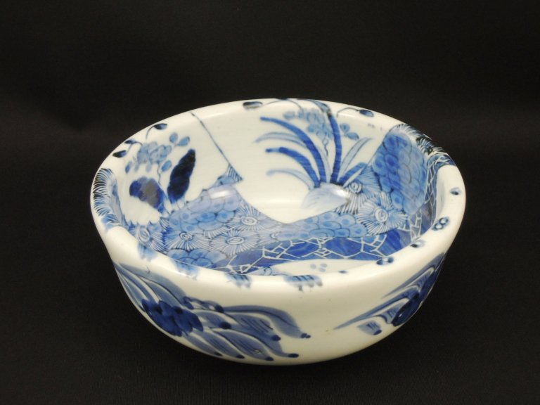 伊万里染付登竜門図中鉢 / Imari Blue & White Bowl with the picture of Carp