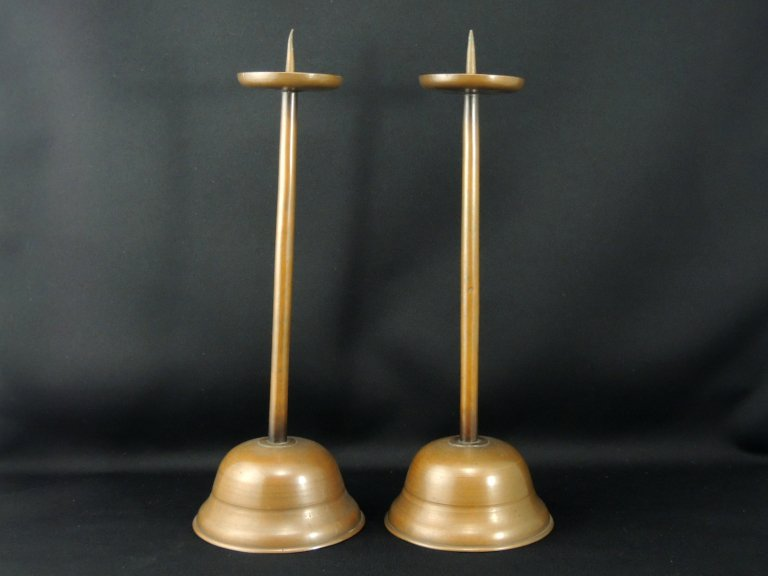 銅器燭台 一対